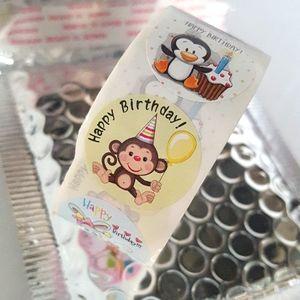 🆕 NEW 500 pcs Colorful Happy Birthday Stickers (8 Animal Designs)